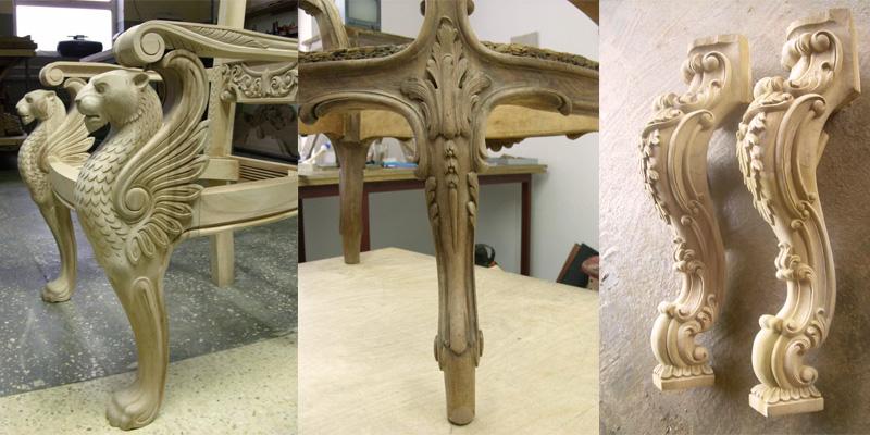 Резные опоры для мебели из массива дерева на заказ